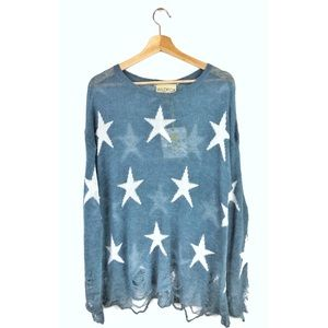 NWT Wildfox Seeing Stars Distressed Lennon Sweater